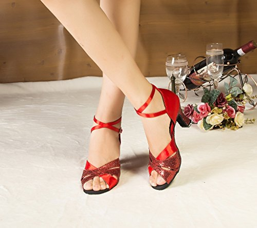 High Glitter Shoes Cha Minitoo Satin Heel Chunky Women's Cha Dance Red wRqzxa6BEn