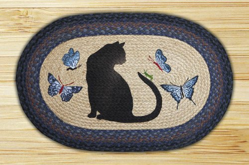 Earth Rugs OP-100 Cat Grasshopper Design Rug, 20x30, Blue/Black/Natural