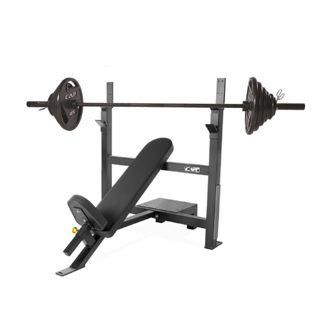 CAP Barbell 300-Pound Black Olympic Grip Set with Olympic Incline Bench