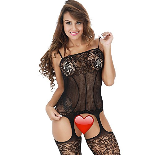 Seamless Strap Spaghetti Bodystocking (Amstt Women's Lingerie Sexy Fishnet Bodystocking Lace Crotchless Strap Babydoll Bodysuit (Black))