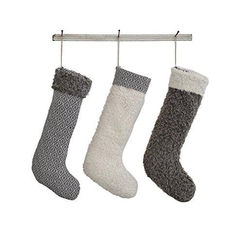 Set of 3 Grey White 19-1/2