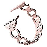 For Apple Watch Band 38mm, Aottom 38mm Apple Watch Band Stainless Steel Rhinestone Diamond Chain Replacement Band Wrist Bands Bracelet Buckle Clasp for 38mm iWatch Band Series 3/2/1 - Rose Pink