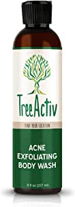 TreeActiv Acne Exfoliating Body Wash Natural Treatment for Back, Chest, Shoulder and Butt Acne Removal Men, Women, Teens Sulfur Charcoal Castile Soap Tea Tree Oil Skin Care (8 fl oz)