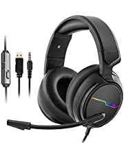 APCSK-V20-X PS4, Xbox one Gaming Headset with Noise Cancelling, Mic Volume Control, LED Light, Bass Surround, 3.5mm Surround Stereo Gaming Headphones for PC,PS3,Laptop, Mac, Nintendo Switch Games