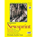 Strathmore 307809 32-Pound 50-Sheet Strathmore Rough Newsprint Paper Pad, 9 by 12-Inch