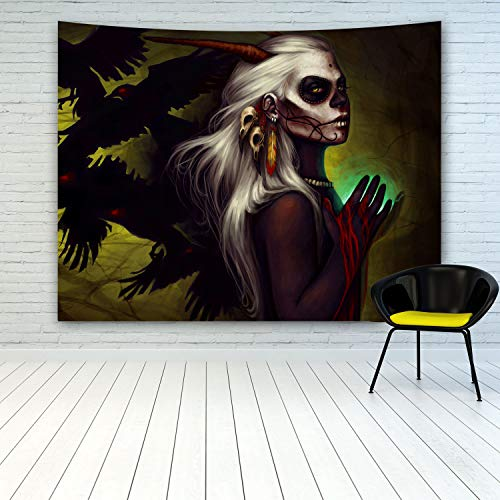 Halloween Sugar Skull Girl Tapestry Wall Hanging, Close-Up Portrait of Woman Mexican Sugar Skull Makeup Scary Zombie Ghost Crows Background, Fantasy Art Tapestry for Halloween Decoration Party -