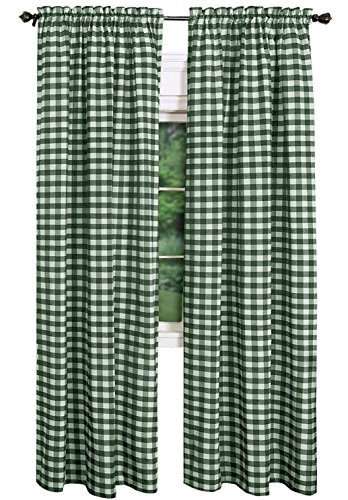 Green Curtains Plaid (AK-Trading - Set of 2 Pcs. - Buffalo Check Plaid Gingham Window Curtain Treatments 100% Polyester Checker Plaid Window Curtain Panel - MADE IN USA - 54 inches x 72 inches - Green)