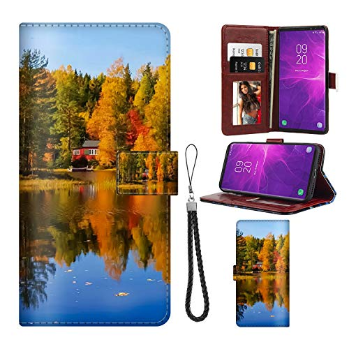 Badalink Samsung Galaxy Note 9 Wallet Case Premium PU Leather Wallet Flip Protective Case Cover with Card Slots and Kickstand for Samsung Galaxy Note 9 Village Autumn Tree Redwood