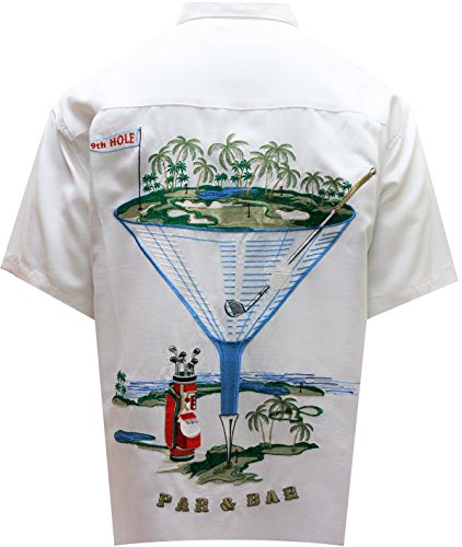 Bamboo Cay Mens Par and Bar Embroidered Camp Shirt (2XL, Off White)