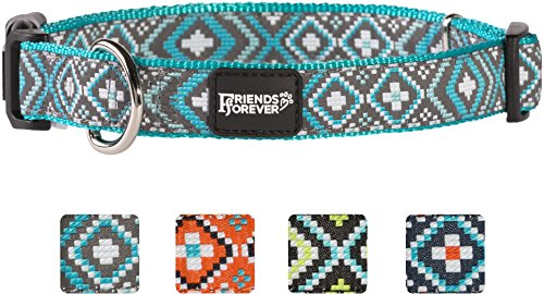 Chrome Polyester (Friends Forever Dog Collar for Dogs - Fashion Woven Square Pattern Cute Puppy Collar, Turquoise Large 18-26
