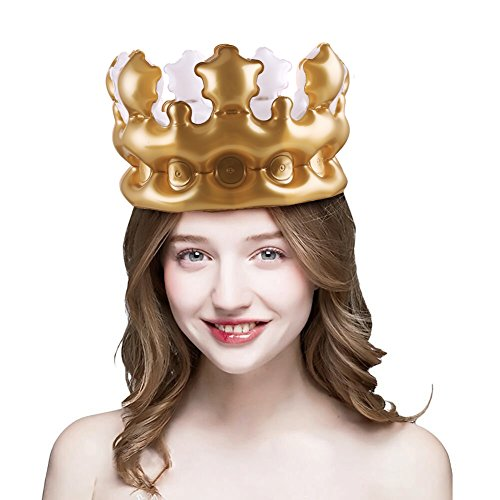 DECORA 4 Pieces Inflatable Imperial Crown Novelty Inflatable Blow up Toy Party Favor Decorative(Brown)