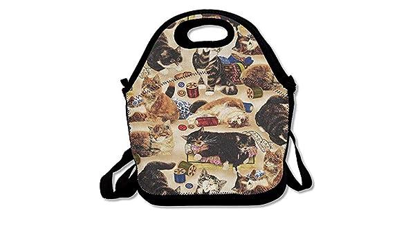 Coser gatos curiosos y nociones de costura Bolsas de almuerzo ...