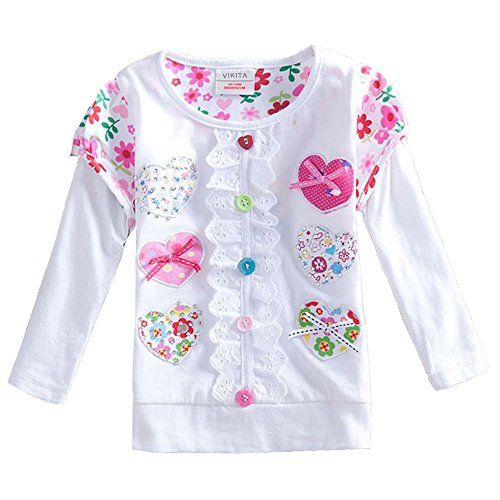 VIKITA 2017 Kid Girl Cotton Colorful Flower Long Sleeve T Shirt Clothes L339WHITE 6T