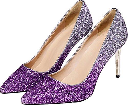 Calaier Womens Calaaei Pointed-Toe 9CM Slip-On Pumps Shoes Purple 3wvHsr