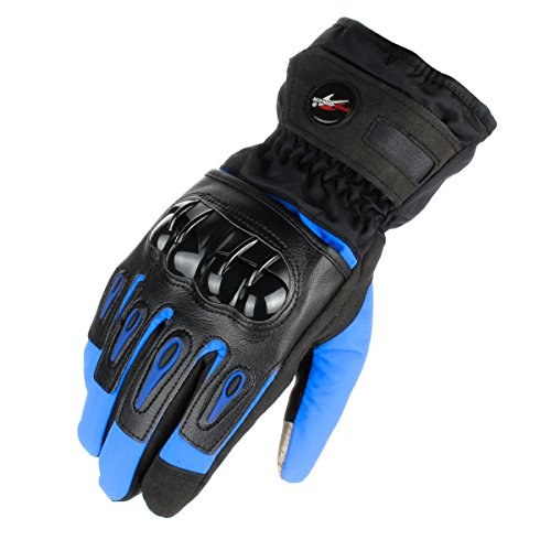 GES Motorcycle Riding Gloves Warm Winter Waterproof Touch Screen Gloves Full Finger Motorbike Cycling Gloves (XXL, Blue)