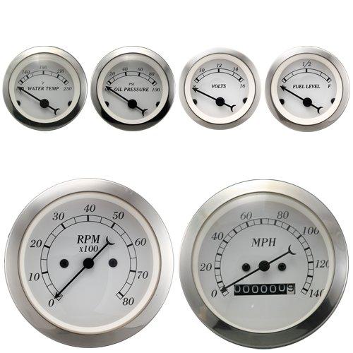 (6 Piece Antique Classic Gauge Set White Dial Mechanical Speedometer Tach Fuel Level Oil Pressure Water Temperature Voltage car auto Automotive aftermarket Cluster Meter kit)