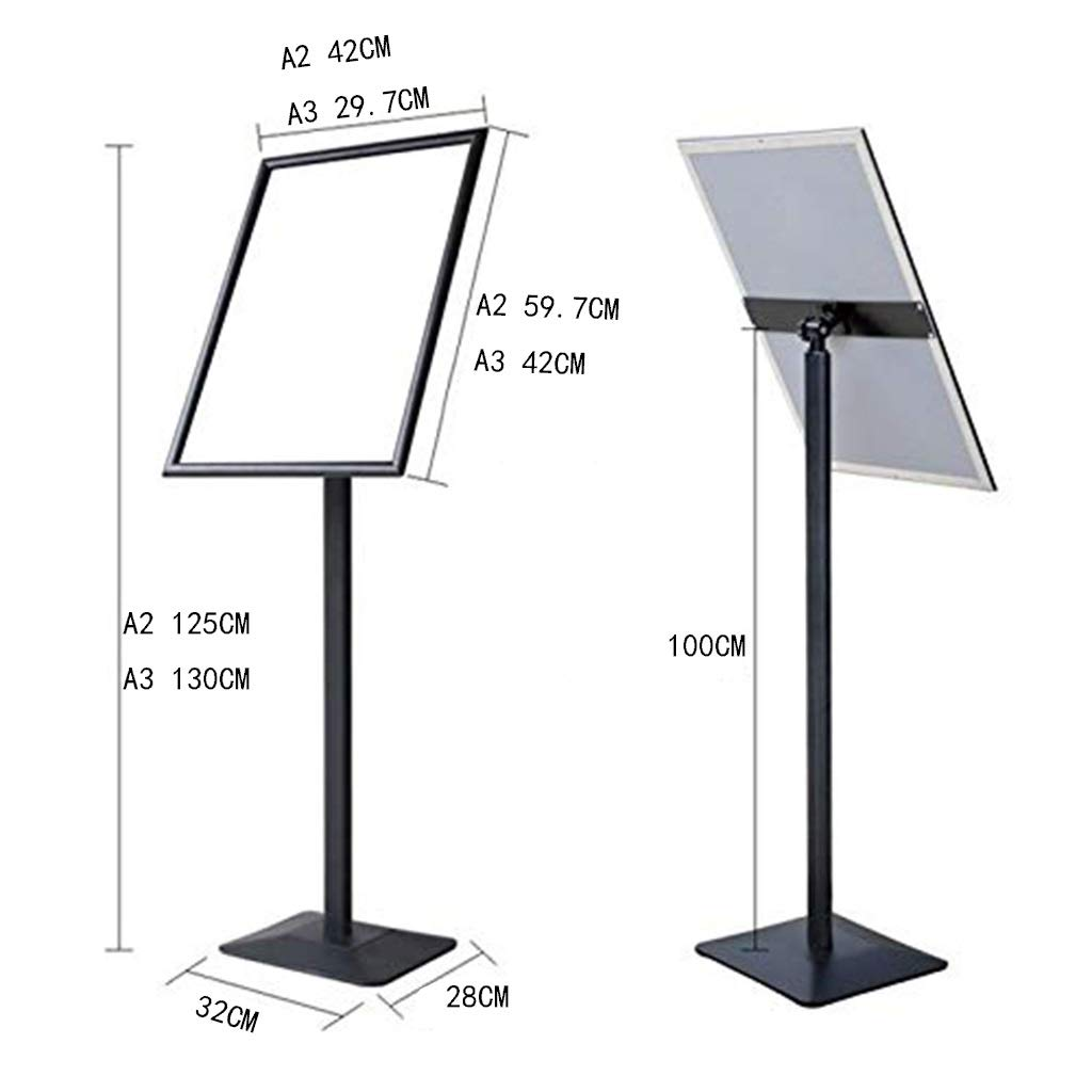 LXJJF Stainless Steel Licensing Sign Display Stand Vertical Lift Billboard Hotel Oriented Card Display Card Poster Frame Black Size : A3