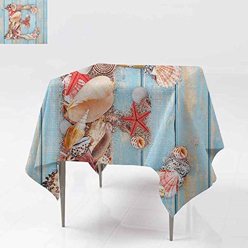 AndyTours Square Table Cloth,Letter E,Stylized E Font Different Lively Seashells Exotic Underwater Life,Party Decorations Table Cover Cloth,36x36 Inch Pale Blue Ivory Dark Coral -