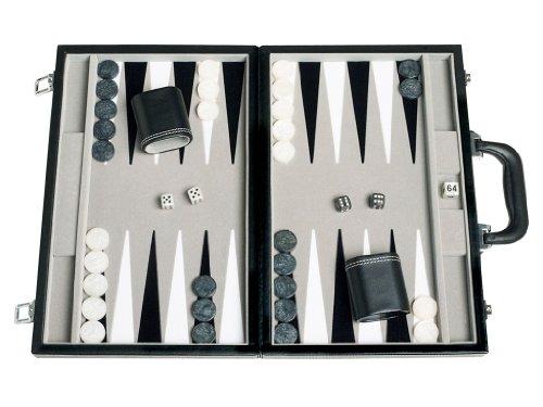 Middleton Games Travel Backgammon Set - Leatherette, Velvet Playing Field - 15-inch, Black/Grey