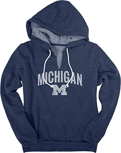 NCAA Michigan Wolverines Women's Heritage Fleece V-Notch Hood Shirt, Large, Navy (Wolverines Fiber Ncaa Michigan)