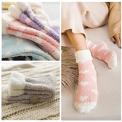 Plush Slipper Socks Women - Colorful Warm Crew Socks Cozy Soft 3/5/6 Pairs for Winter Indoor