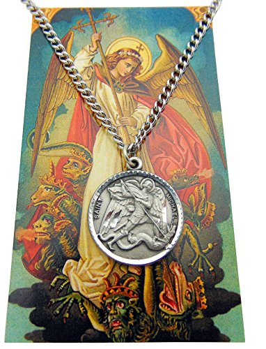 Westman Works St Michael Pewter Medal One Inch Saint Pendant on a Stainless Steel Chain Boxed Gift Set (St Nicholas A Story Of Joyful Giving)
