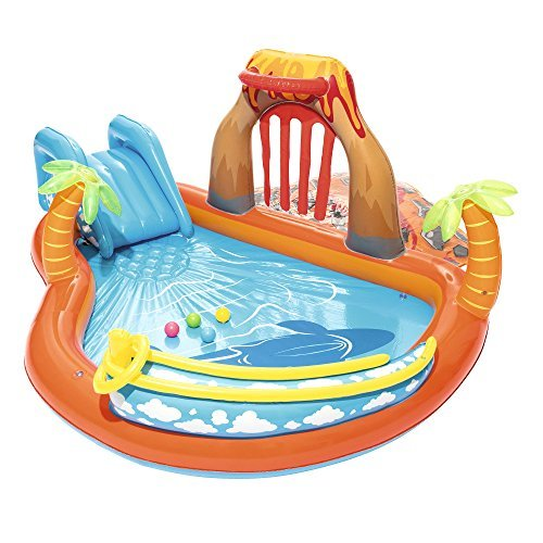 Kids Inflatable Pool Play Center. This Kiddie Blow Up Above Ground Swimming Pool Is Great For Toddlers, Children To Have Outdoor Water Fun With Slide, Toys, Floats. Lava Lagoon Slide And Splash.