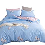 ORoa 3 Piece Reversible Cotton Home Textile Bedding Set with Pillow Shams for Boys Girls Teens Adults Queen, Cartoon Animal Duvet Cover Sets Pink Blue