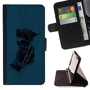 For Samsung Galaxy Note 5 5th N9200 Case , Blue Girl- la tarjeta de Crédito Slots PU Funda de cuero Monedero caso cubierta de piel