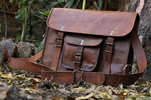 HLC Unisex Leather Messenger Bag Laptop