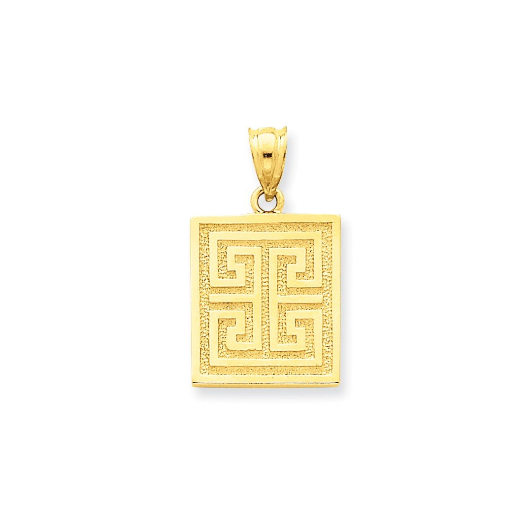 ICE CARATS 14k Yellow Gold Greek Key Pendant Charm Necklace Travel Transportation Fine Jewelry Ideal Mothers Day Gifts For Mom Women Gift Set From Heart