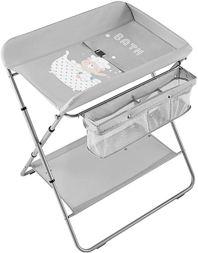 赤ちゃんおむつ替え台おむつ替え台ドレッサー、サイドポケット、下収納かご、乾燥ラック、折りたたみ式 (Color : Gray)