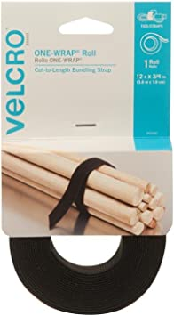 L x 3//4 in W Black Velcro  One-Wrap  Strap  12 ft