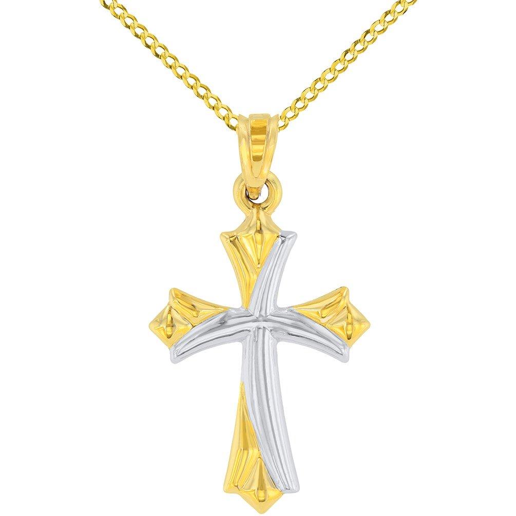 14k Yellow Gold Fleur de Lis Cross Charm Pendant Necklace with Cuban Concave Chain
