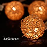 LIDORE Natural white Rattan Balls String Light. Set of 10 warm white light for christmas wedding garden Patio and party Incandescent