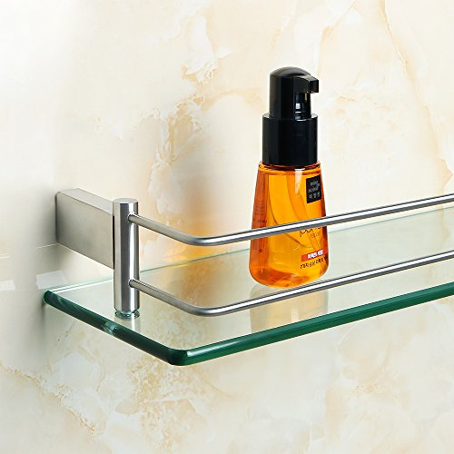 Alise GC1000 SUS 304 Stainless Steel Bathroom Glass Shelf Wall Mount,Brushed Finish by Alise (Image #3)