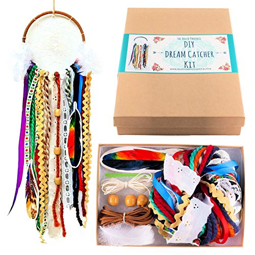 Make Your Own DIY Dream Catcher Kit Craft Project Christmas Stocking Stuffer Do It Yourself 5 Inch Ring (Hippie-diy)