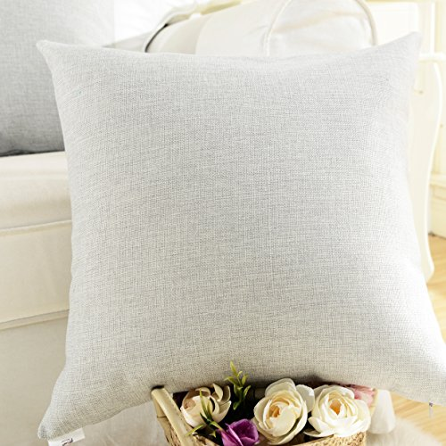 Home Brilliant Decorative Lined Linen Square Throw Cushion Cover Pillow Cover for Bed/Kids/Chair, 18 x 18 inch, Light Grey (Light Grey Throw Pillows)