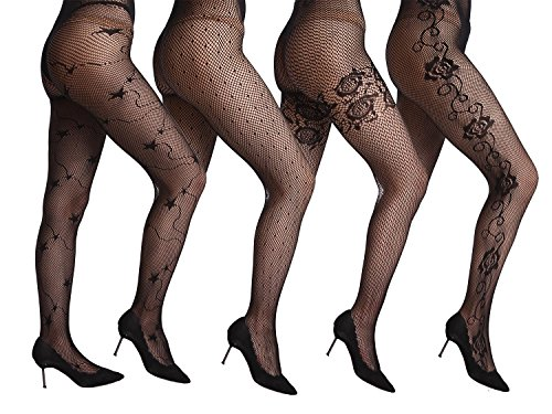 Amoretu Women Fishnet Floral Design Patterned Tights Pantyhose Stockings 4 Pairs (Lace Thigh High Tights)