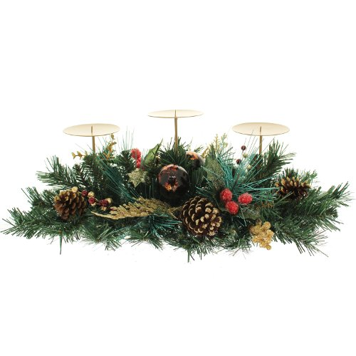 WeRChristmas 52 cm de Bayas/de piñas/Centro de Mesa con diseño de Hojas de Juego de 3-Portavelas de Navidad, Rojo/Dorado