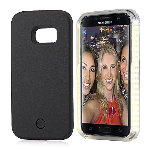 Samsung S7 Selfie Led Light Case,LNtech Rechargeable LED Light Up Flash Lighting Selfie Case Illuminated Cover (Black, Samsung S7)