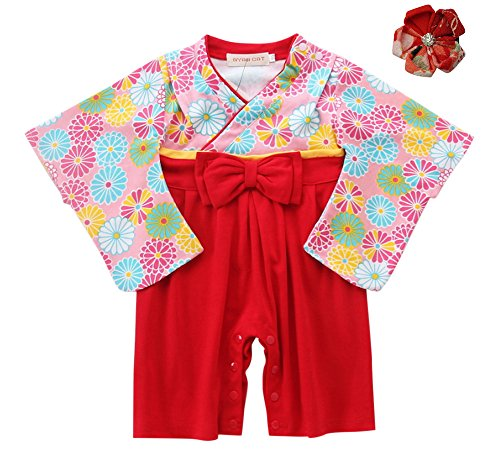 FANCYBABY Japanese Girls Toddler Kimono Dress Robe Outfit Costume Hair Clip (12 to 18 Months, Red Flowers)