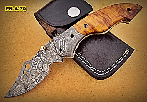 FN-A-70, Custom Handmade Damascus Steel Folding Knife Olive Burrel Wood Handle with Damascus Steel Bolsters