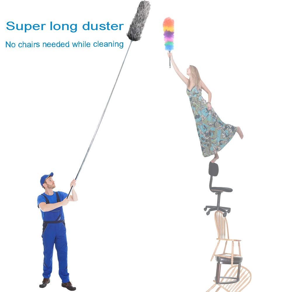Microfiber Duster for Cleaning with Extension PoleReaches 100 Inches,LECAMEBOR Flexible and Extendable Duster for Cleaning Ceiling Fan/Furniture/Keyboard/Cobweb-Upgraded by LECAMEBOR (Image #3)