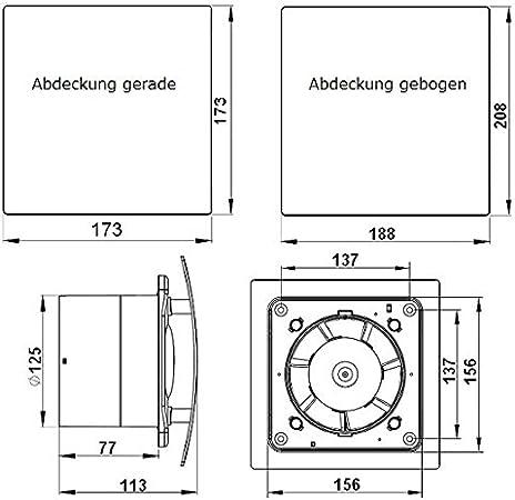 Molto SILENZIOSO CASA Ventilatore badlüfter-tempo interruttore sensore di umidità 100 mm