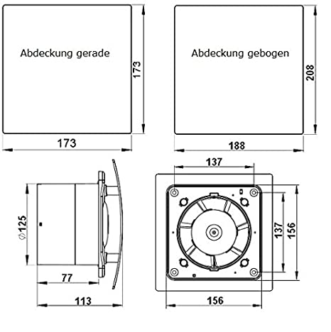 DUO Design Badl/üfter Wandl/üfter Leise R/ückstauklappe Kugellager Nachlauf /Ø 100 mm Silber MKK 18150-008