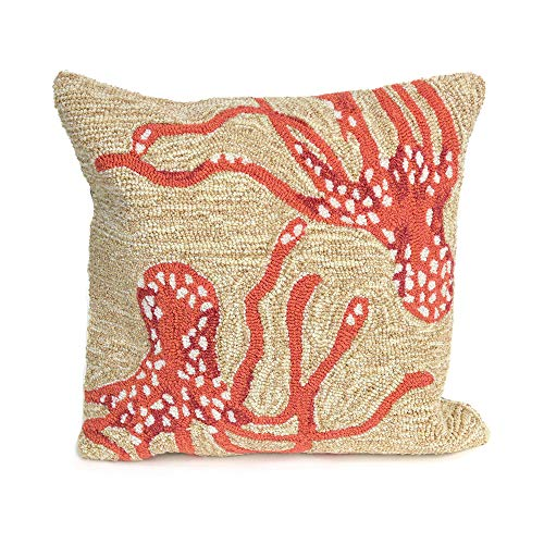 Liora Manne 7FP8S167717 1677/17 Coral Frontporch Octopus Indoor/Outdoor Pillow, 18