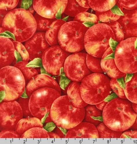 Robert Kaufman Fresh Apples Packed on Red Cotton Fabric By the Yard