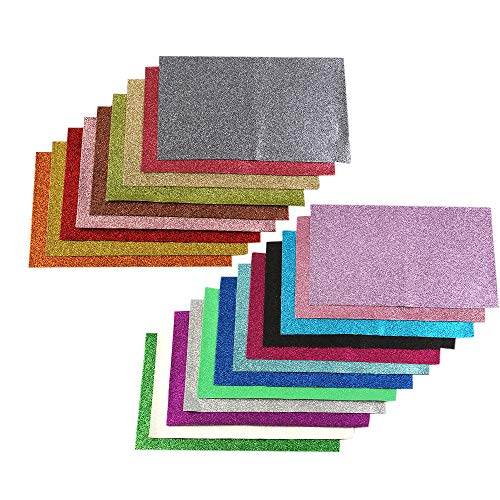 David accessories Shiny Superfine Glitter Faux Leather Sheets Solid Color Synthetic Leather Fabric 21 Pcs 8 x 13''(20 x 34cm) Canvas Back Assorted Colors for DIY Earrings Hair Bows Making (21 Colors) by David accessories (Image #3)