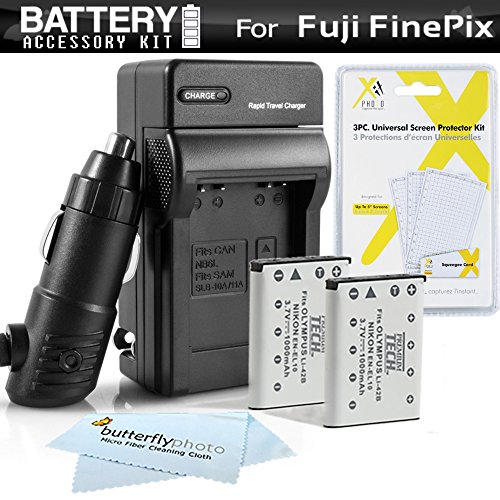(2PK Battery + Charger Kit for Fuji Fujifilm Instax Mini 90 Neo Classic Instant Film Camera, FinePix Z900EXR, XP60 T550 T560 T510 Camera Includes 2 (1100Mah) Replacement NP-45A Battery +)